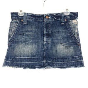 CHIP & PEPPER Denim Mini Skirt Jean Distressed Low